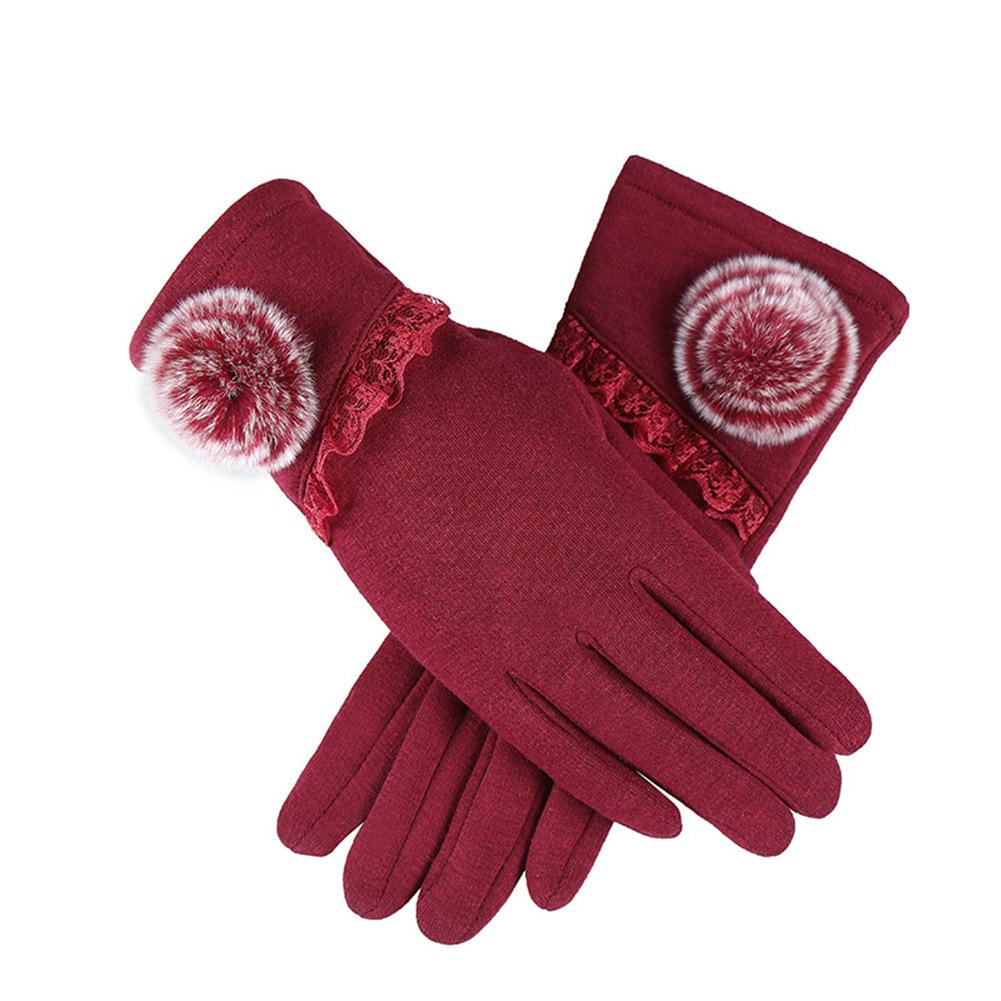 Women's Winter Outdoor Cycling Fashionable Lace Touch Screen Cotton Gloves