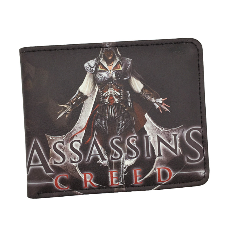 Free Shipping Cool Game Wallet Assassins Creed Movie Wallets For Young Boy Girl Student Leather Short Money Bag Wallet Purses