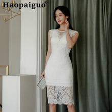 Plus Size Korean Dress Summer Women Sleeveless Mesh Patchwork White Lace Dress Women Sheath Wrap Bodycon Dress for Women Vestido