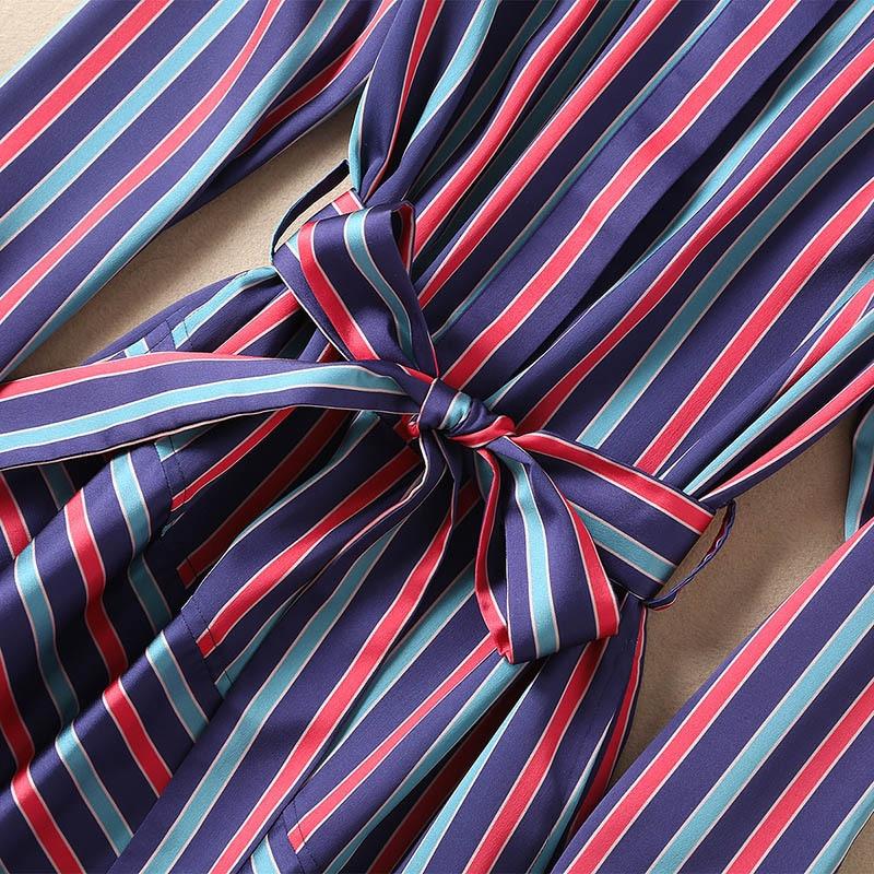 2019 D'été See Nouvelle Striepd Casual Femmes Violet De Sirène Printemps Manches À Filles Chemises Chart Longues Robe Robes Haut Gamme Ceintures SqTWSZ1w
