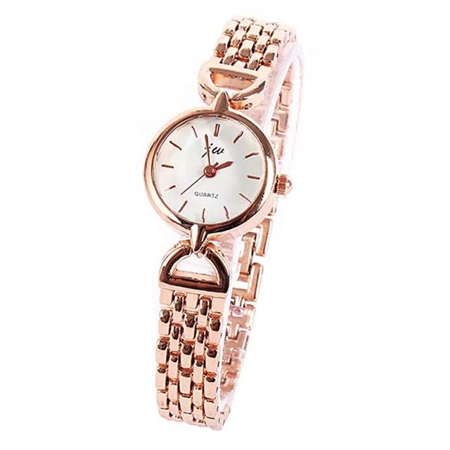 Fancy Lady Women Elegant Relojes Analog Quartz Relogio Watch Alloy Gold/Silver Bracelet WristWatch