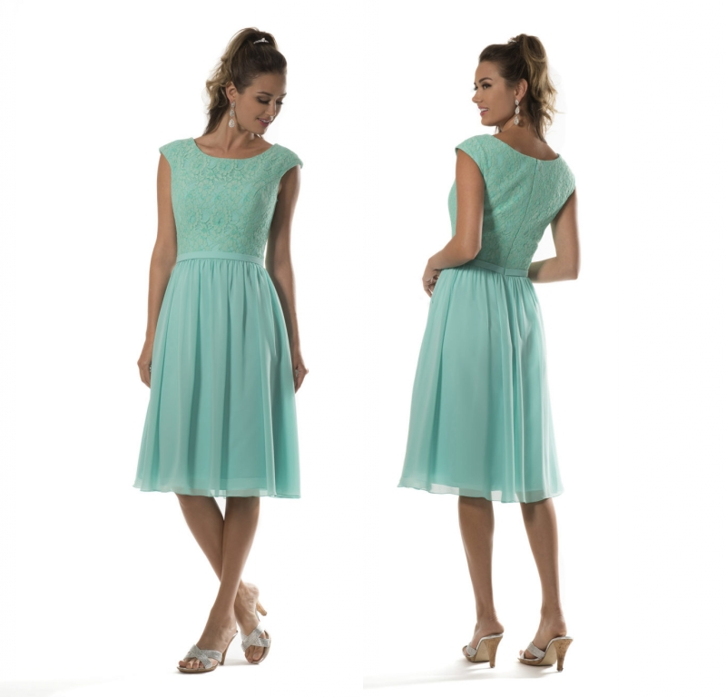 Aqua Short Knee Length Modest   Bridesmaid     Dresses   2019 With Sleeves A-line Lace Bodice Temple Country Maids of Honor   Dresses