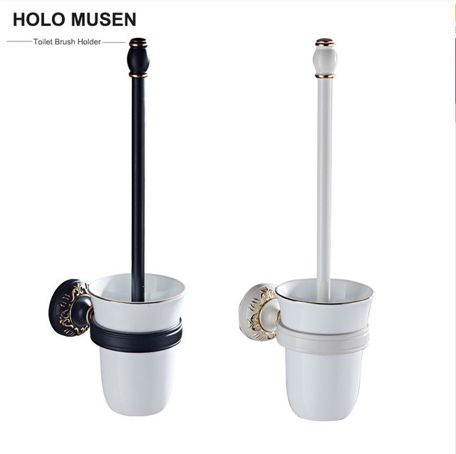 vintage style ceramic bathroom toilet brush holder black white colors wall mounted bathroom accessories toilet brush - Bathroom Accessories Vintage Look