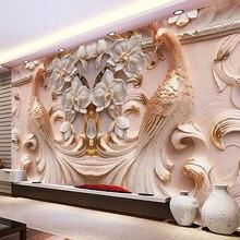 Пользовательские фото обои 3D рельеф Павлин Бабочка Цветочный 3D Фреска Гостиная ТВ фон домашний декор настенная ткань 3d обои