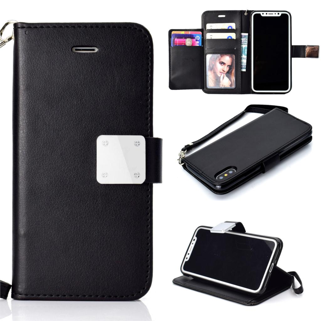 HAISSKY Leather Case For iPhone 6 6s Plus 7 8 Plus X Xs Luxury Wallet 5 Card Slot Book Cover Flip Phone Case Mobile Accessories