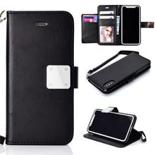 HAISSKY Leather Case For iPhone 6 6s Plus 7 8 Plus X Xs Luxury Wallet 5 Card Slot Book Cov