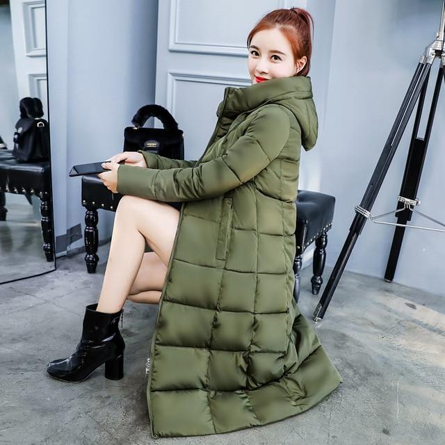 Best Offers SHIBEVER Winter Long Women Jacket Coat Cotton Parkas Hooded Warm Puffer Basic Jackets Outerwear Female Casual Women Coats ADR104
