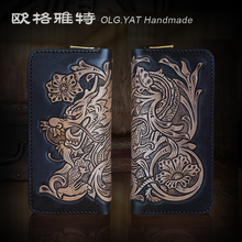 HK OLG.YAT handmade wallet men purse women wallets Dragon  long handbag  Italian Vegetable tannede leather men wallets cowhide