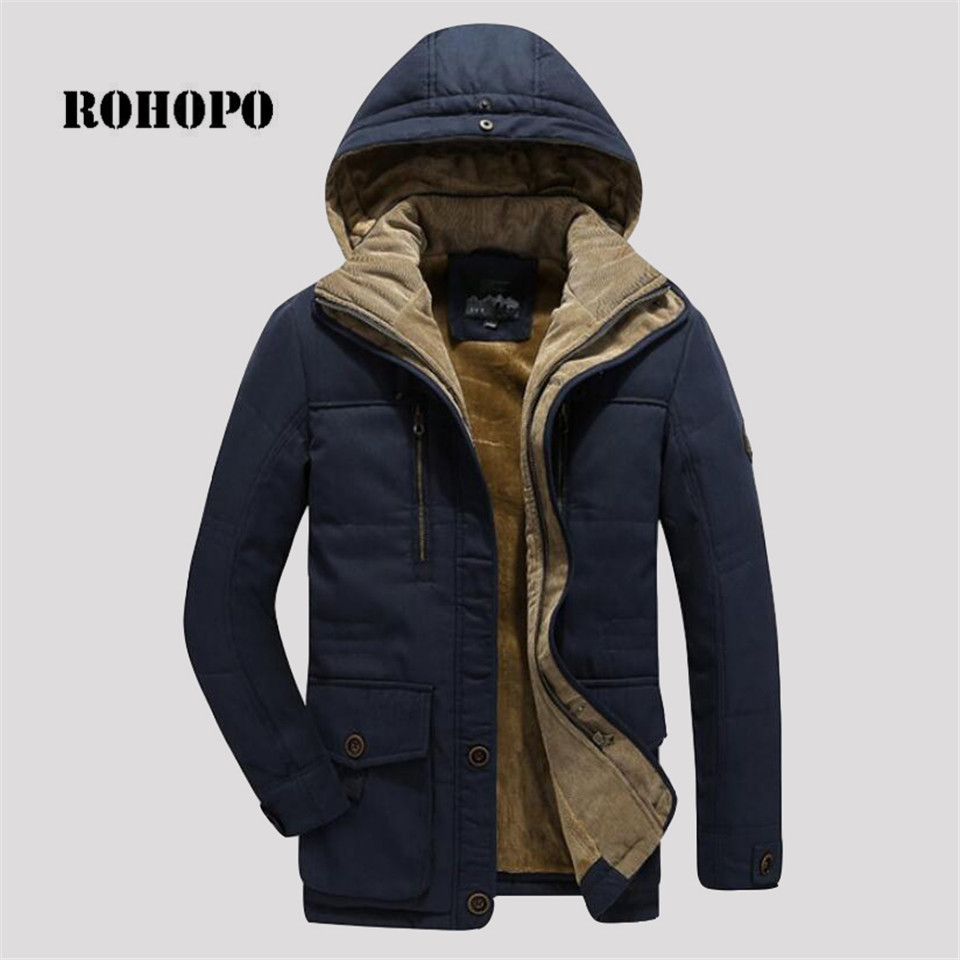 ROHOPO L To 6XL 100% Cotton Winter Parkas Coat Man, Collar Hat Wool Inner Overcoat,solid Straight Parka Cotton Military Jacket