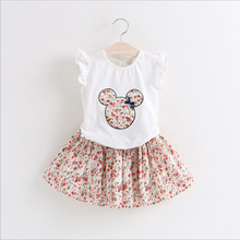 summer 2019 kid girls clothes set cartoon petal sleeve tops+floral skirt toddler boutique clothing little girl outfits costume girls floral blouse kid s clothes long sleeve off shoulder tops children clothing summer girl s outfits