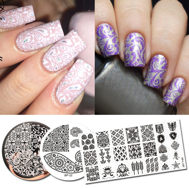 Born Pretty 3pcs Stamping Plate Paisley Series Round Rectangle Stencil Nail Art Template Image