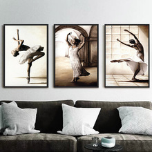 Ballet Dancing Girls Picture Nordic Home Decor Canvas Art Painting Wall Print Drawing Poster Figure for Living Room
