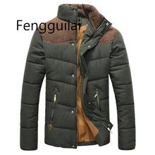 цены Winter Jacket Men Warm Casual Parkas Cotton Stand Collar Winter Coats Male Padded Overcoat Outerwear Clothing4XL