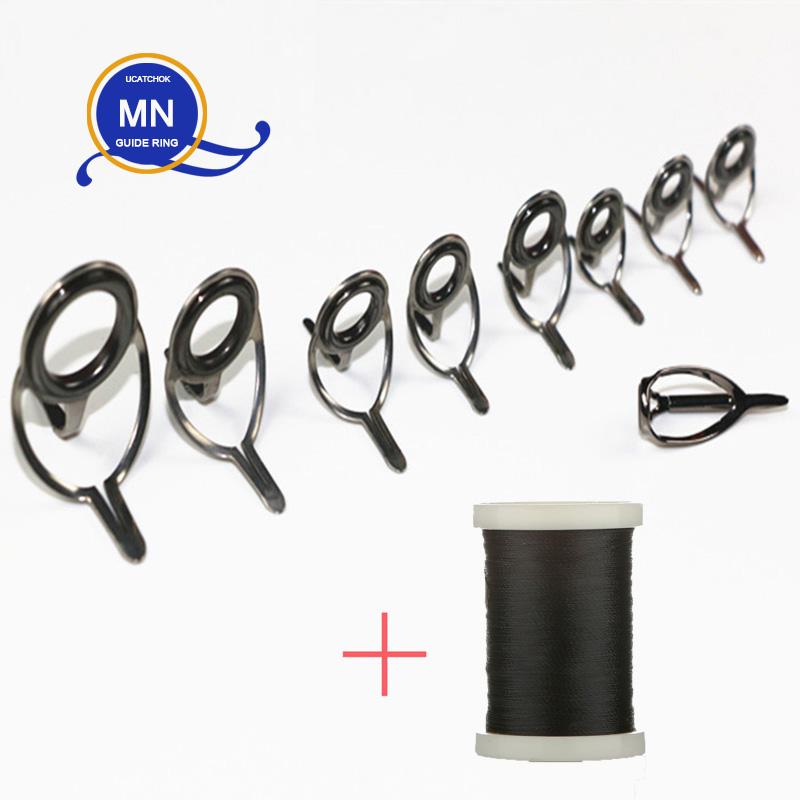 9pcs/Kit MN Bracket Baitcasting Rod Guide Snakehead Thunder Game Rod Boat Big Game Rod Guide Ring Stainless Steel DIY Accessory
