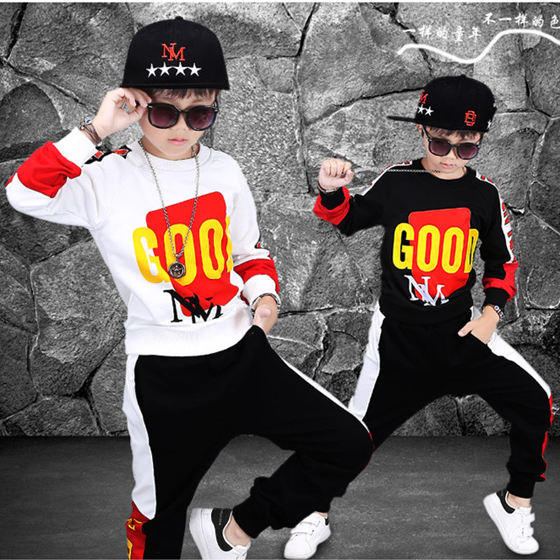 2018 Spring Kids Street wear Clothing Sets Long Sleeve T-shirt Pants Boys Clothes Suits Letter Children for 6-10 11 12 13 Years junior republic junior republic блузка трикотажная белая