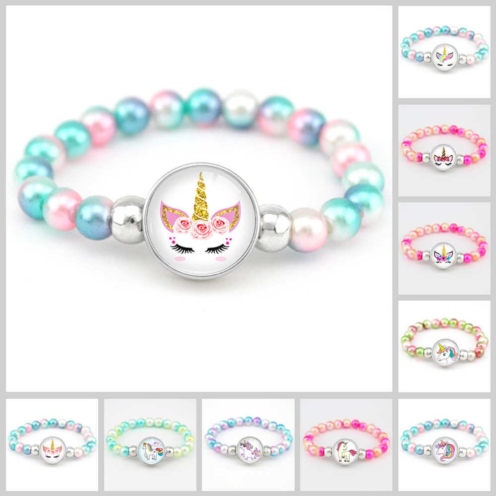 Unicórnio grânulos pulseiras 18mm snap titular botões cúpula cabochão flamingos encantos na moda pulseiras meninas feminino menino jóias presente