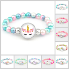 Unicorn Beads Bracelets 18mm Snap Holder Buttons Dome Cabochon Flamingos Charms Trendy Girls Women Boy Jewelry Gift