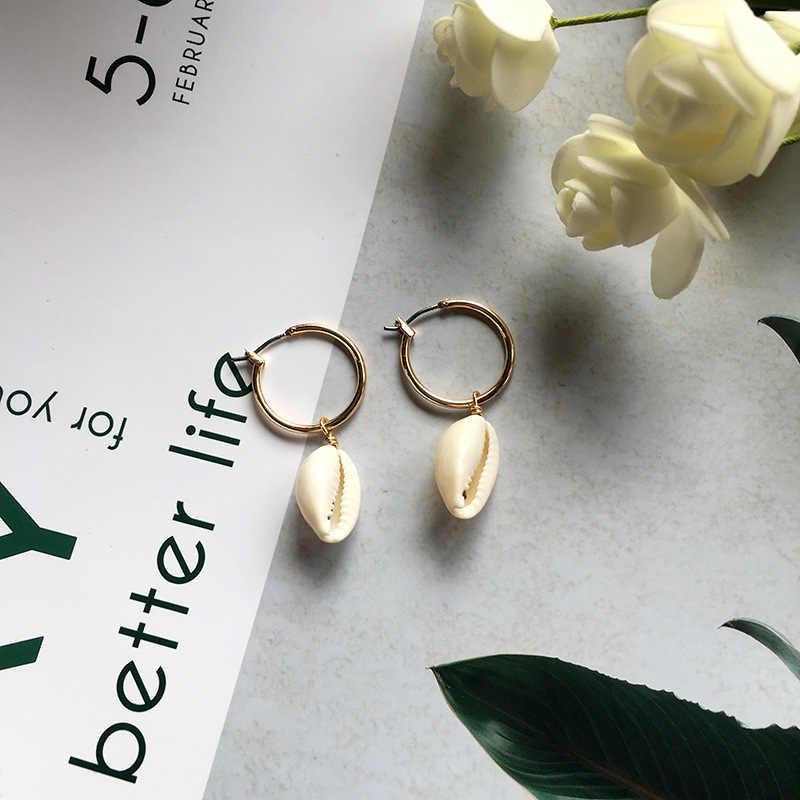 Baru DIY Sea Shell Liontin Anting-Anting Wanita Brincos Emas Buatan Tangan Warna Anting-Anting Laporan Hadiah Perhiasan Bohemian Fashion Perhiasan