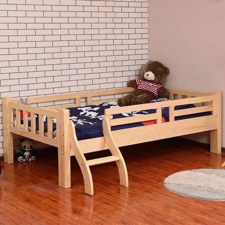 meuble de sieste lit en bois massif pour enfant avec matelas echelle garde corps 202x124x70cm