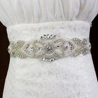 Plata hierro en claro pearl Rhinestone Crystal Bridal Dress Applique recorta coser artesanía para la boda nupcial sash