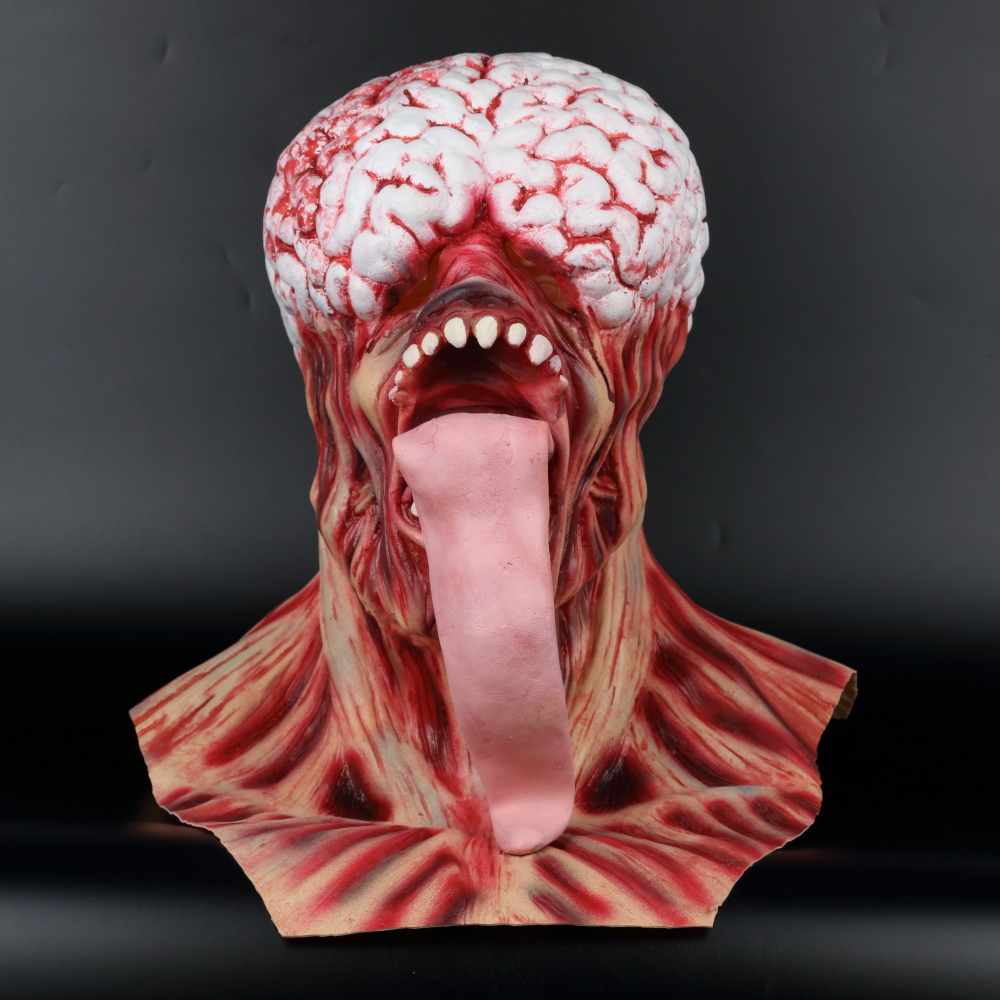 Resident Evil Rotten Horror Zombie Mask Long Tongue Haunted House Secret Room Scary Bloody Latex Eye Mask Cosplay Halloween (18)