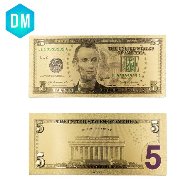 Usa 24k Gold Banknotes Gold Plated Us 5 Dollar Bill Collections Bank Notes Currency Fake Money