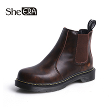 New Fashion Women Boots Brown/Black Chelsea Round Toe Ankle Classic Shoes She ERA