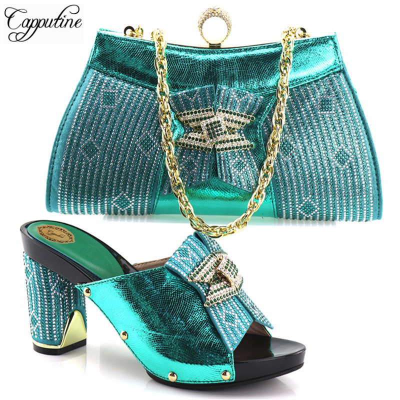Capputine New Design Rhinestone Green Color Shoes And Matching Bags Fashion Italian Style Woman Shoes And Bags Set Free Shipping 2016 spring and summer free shipping red new fashion design shoes african women print rt 3