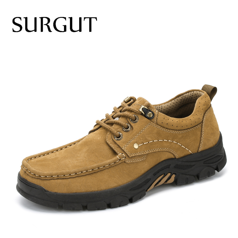 SURGUT Spring Autumn Comfortable Genuine Leather Men Casual Shoes Fashion Men Breathable Vintage Classic Flats Shoes Size 38-45 spring autumn fashion men high top shoes genuine leather breathable casual shoes male loafers youth sneakers flats 3a