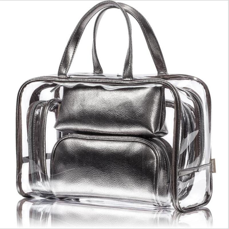 5 pièces/ensemble sac cosmétique Transparent de voyage femmes Paillette PVC sacs de maquillage pochette de lavage organisateur de beauté mallette de rangement trousse de toilette