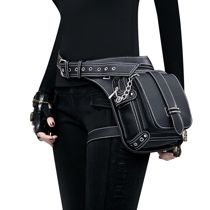 Femmes PU cuir taille sac moto goutte jambe Fanny Pack hanche ceinture téléphone poche femelle Messenger épaule sac à bandoulière mode