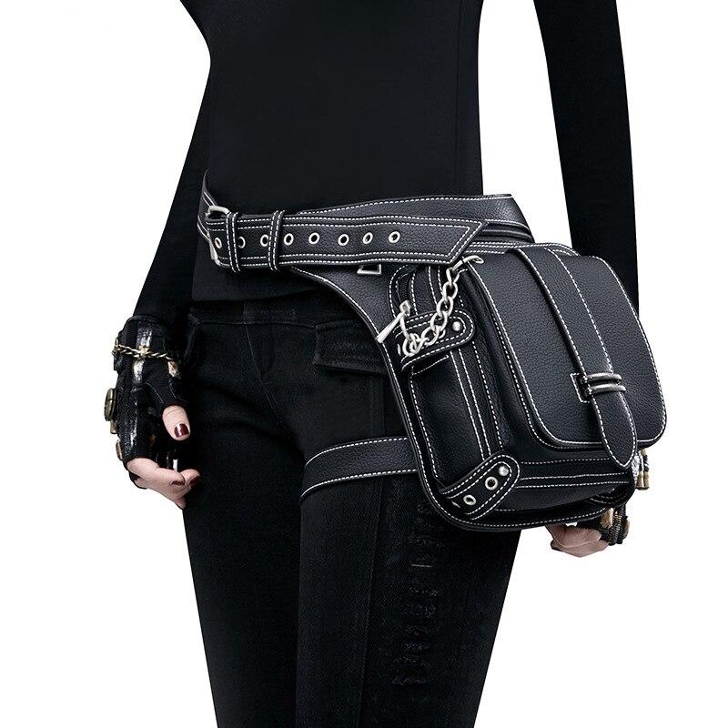 Women PU Leather Waist Bag Motorcycle Drop Leg Fanny Pack Hip Belt Phone Pouch Female Messenger Shoulder Crossbody Bag Fashion
