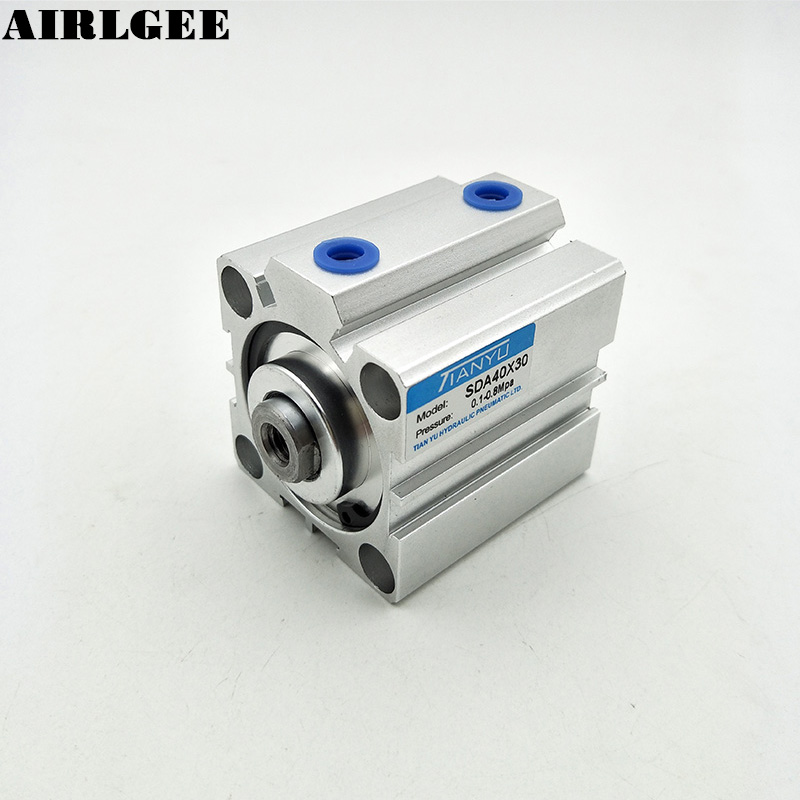 40mm Bore 30mm Stroke Double Action Pneumatic Thin Air Cylinder SDA 40x30 New40mm Bore 30mm Stroke Double Action Pneumatic Thin Air Cylinder SDA 40x30 New