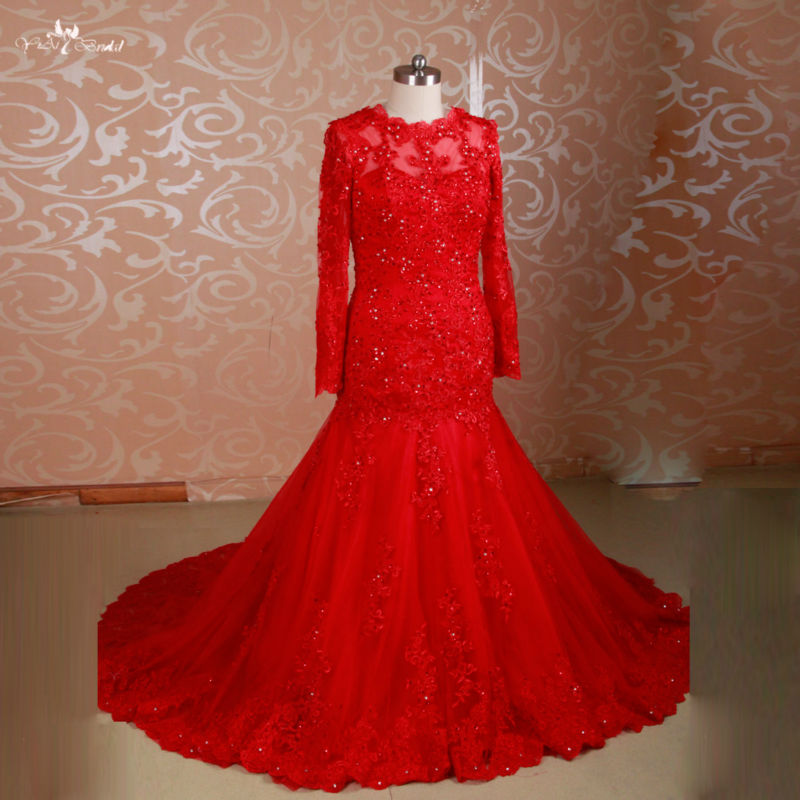 Rsw775 long sleeves beaded mermaid muslim beautiful red for Red and black wedding dresses for sale
