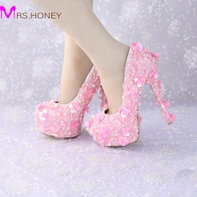 Free Shipping Sweetness Pink Wedding Shoes Handmade Lace Glitter Bridal Dress Shoes Gorgeous Women High Heels Anniversary Pumps