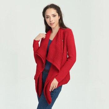 Cardigan Women 2017 Yuzi.may Boho New Cotton Sweater Long Sleeve Scarf Collar Asymmetrical Wooden Button Cardigans B9031