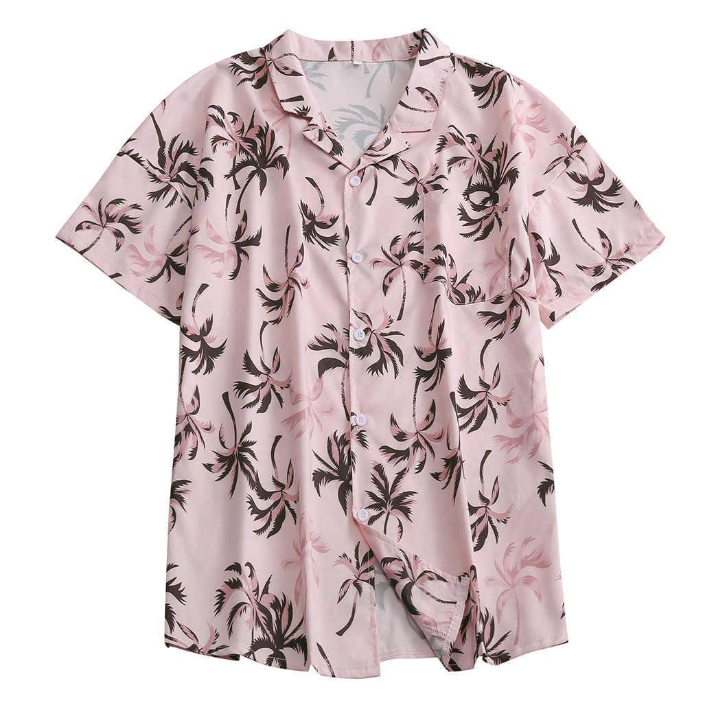 メンズエスニック半袖ビーチハワイシャツ熱帯夏印刷ハワイボタンダウンシャツプラスサイズシュミーズオム