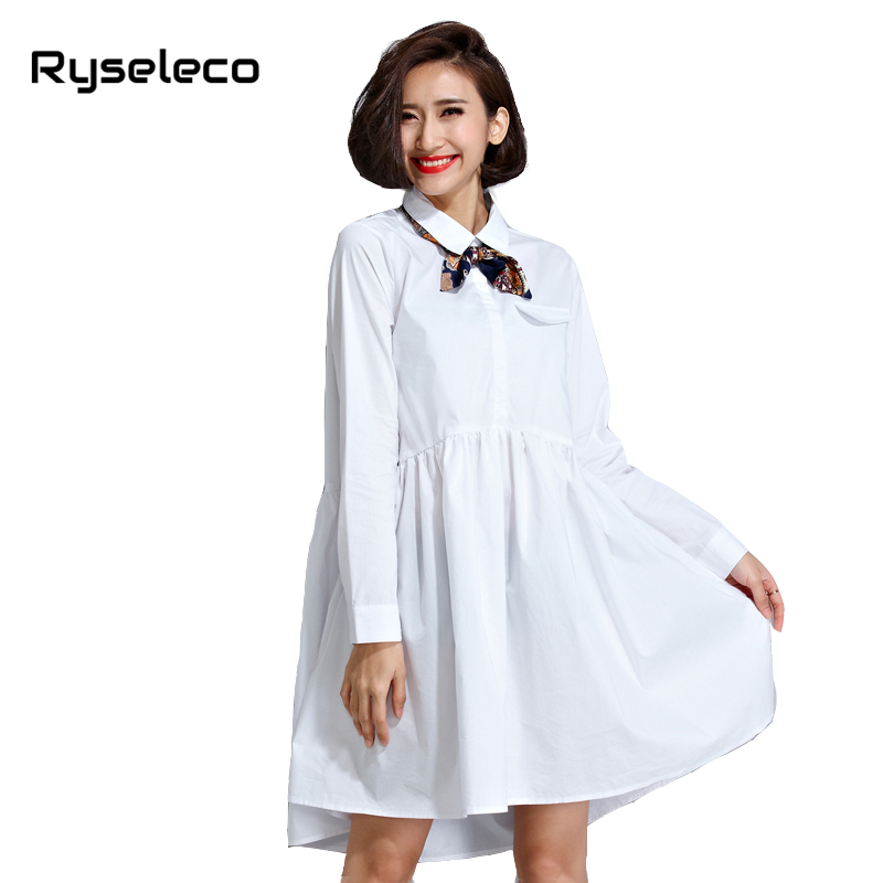 Ladies Autumn Oversize Sexy Shirt Dresses Women Fall Cotton Plus size White Long Sleeve Floral Bow Casual Office femme Vestidos
