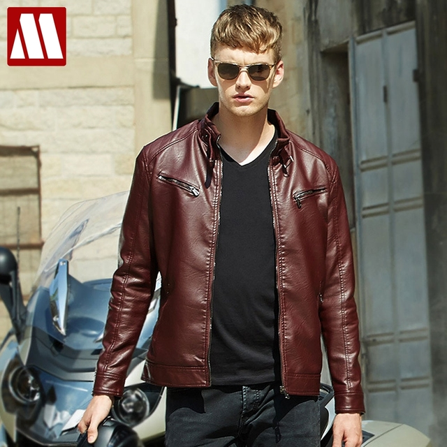 7e2056ec89e 2017 Men's Coat Popular Handsome PU Leather Jacket Punk New Red Leather  Jackets Zipper Men Chupas