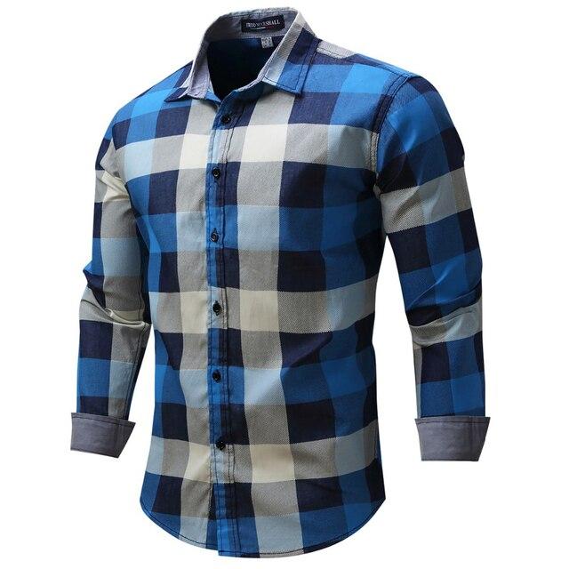 Fredd Маршалл Новое поступление Для мужчин рубашка рубашки в клетку с длинным рукавом мужская одежда брендовая Повседневное деним Стиль проверки синий Рубашки для мальчиков