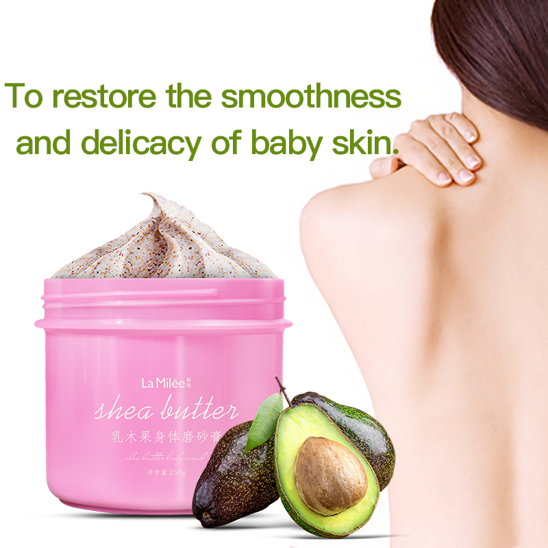 LAMILEE Exfoliating Gel Body Scrub Cream Shea Butter Fruit Skin Whitening Go Cutin Dead Skin Moisturizing Body Care 250G