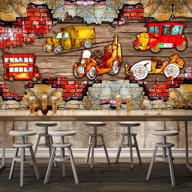 Custom 3D Photo Wallpaper Modern Abstract Cartoon Car Restaurant Cafe Living Room Backdrop Mural Wallpaper Painting De Parede custom 3d photo wallpaper waterfall landscape mural wall painting papel de parede living room desktop wallpaper walls 3d modern