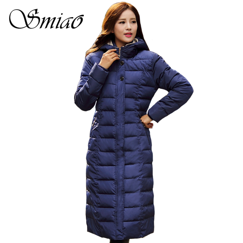 Smiao 2017 Plus Size X-Long Women Winter Coat Hooded Casual Warm Thick Woman Parkas Female Overcoat Cotton Padded Coat 4XL women winter long thick jacket warm woman parkas female overcoat high quality 2017 new hooded red plus size loose coat 4xl 5xl