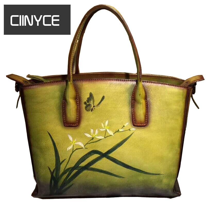 2018 New Unique Design Flowers Paintings Women's Genuine Cow Leather Satchel Handbags crossbody shoulder bag Vintage retro totes