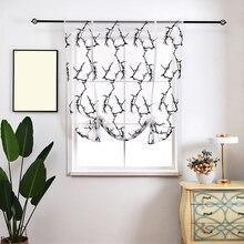 Printed Kitchen Short Curtain Tulle Door Sheer Drape Panel Screen Voile Window for Living Room Bedroom