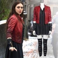 Hot Sale Movie The Avengers Cosplay Scarlet Witch Red Coat +Black Dress Halloween Cosplay Costumes