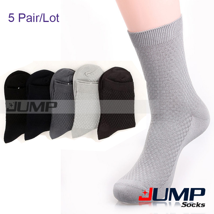 Bamboo Socks Men Summer White Black Grey Solid Color Thick Cotton Business Sock Men 5 pairs Lot
