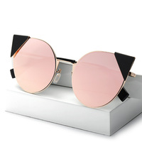 2017 Fashion Brand rose gold Sunglasses For Women Glasses Cat Eye women Sun glasses Male Mirror Men Glasses Female Vintage oculo