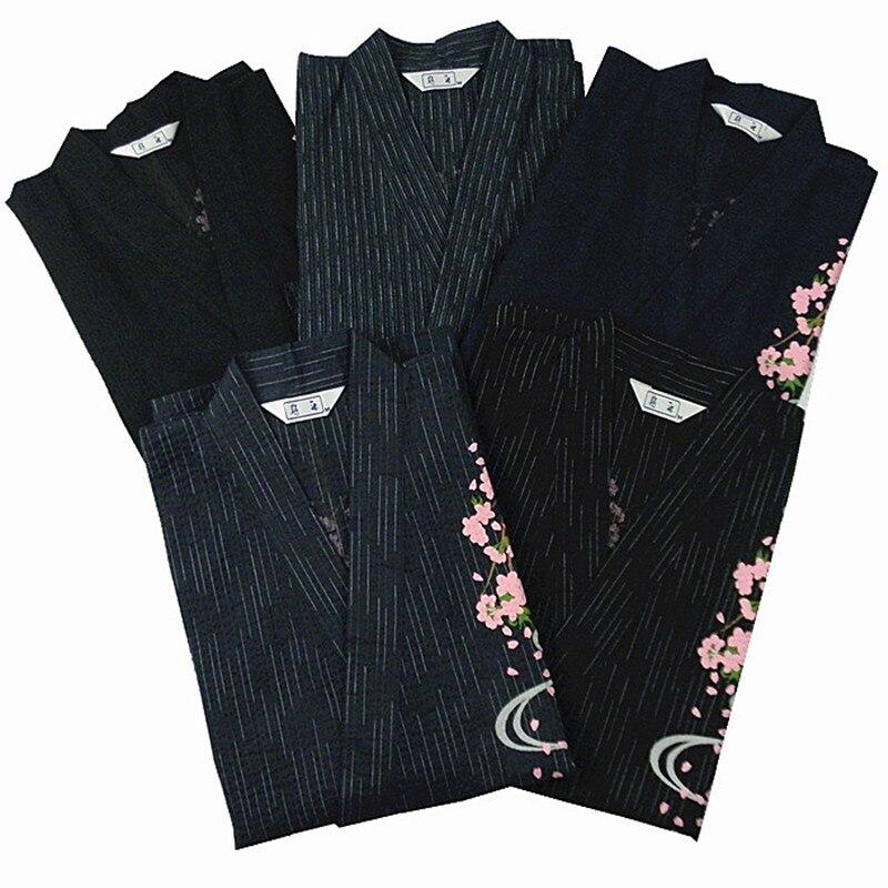Kimono Pajamas For Men Sleepwear 100% Cotton Woven Cotton Cloth Robe Kimono Lounge Sleep Pajamas Set