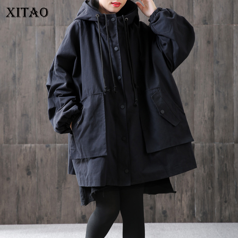 [XITAO] Wide-waisted Women 2018 Winter Korea Fashion Hooded Collar Full Sleeve Loose Coat Femlae Solid Oclor Long   Trench   LYH2126